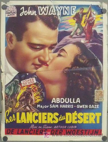 XJ97D I COVER THE WAR JOHN WAYNE POSTER ORIGINAL BELGA 36X47 (Cine - Posters y Carteles - Bélicas)