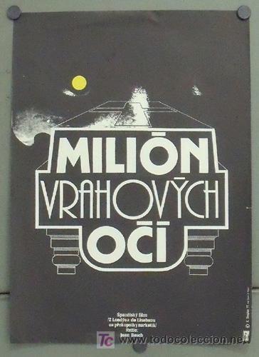 MC78 LOS MIL OJOS DEL ASESINO GIALLO JUAN BOSCH POSTER ORIGINAL CHECO 29X40 (Cine - Posters y Carteles - Suspense)