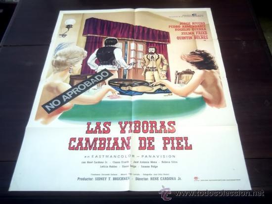 POSTER ORIGINAL MEXICANO LAS VIBORAS CAMBIAN DE PIEL GUNS AND GUTS JORGE RIVERO RENE CARDONA JR 1974 (Cine - Posters y Carteles - Clasico Español)