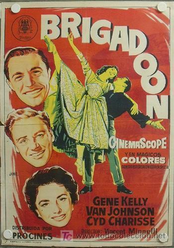 YG00D BRIGADOON GENE KELLY CYD CHARISSE VINCENTE MINNELLI JANO POSTER ORIG 70X100 ESTRENO LITOGRAFIA (Cine - Posters y Carteles - Musicales)