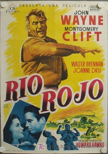 E373D RIO ROJO JOHN WAYNE MONTGOMERY CLIFT HOWARD HAWKS POSTER ORIGINAL 70X100 ESTRENO LITOGRAFIA (Cine - Posters y Carteles - Westerns)