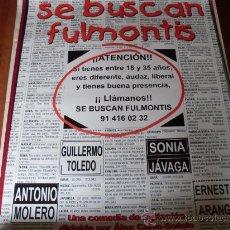 Cine: SE BUSCAN FULMONTIS - ANTONIO MOLERO, GUILLERMO TOLEDO, ERNESTO ARANGO - (PREVIO). Lote 26551690
