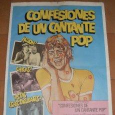 Cine: CARTEL ORIGINAL DE LA PELICULA CONFESIONES DE UN CANTANTE POP. MEDIDA 70X100 CM. AÑO1975.. Lote 26184754