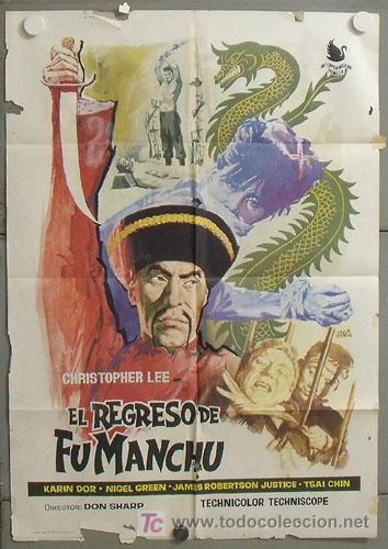 MK86 EL REGRESO DE FU MANCHU CHRISTOPHER LEE POSTER ORIGINAL 70X100 ESTRENO (Cine - Posters y Carteles - Terror)