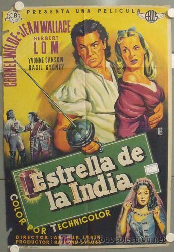 ZQ90D ESTRELLA DE LA INDIA CORNEL WILDE JEAN WALLACE ALE POSTER ORIGINAL 70X100 ESTRENO LITOGRAFIA (Cine - Posters y Carteles - Aventura)