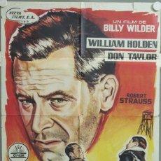 Cine: ML84 TRAIDOR EN EL INFIERNO WILLIAM HOLDEN BILLY WILDER POSTER ORIGINAL 70X100 DEL ESTRENO. Lote 19713944