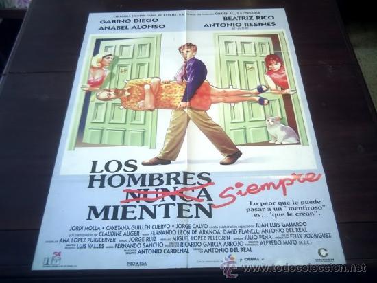 POSTER ORIGINAL LOS HOMBRES SIEMPRE MIENTEN GABINO DIEGO ANABEL ALONSO B. RICO ANTONIO DEL REAL 1995 (Cine - Posters y Carteles - Clasico Español)