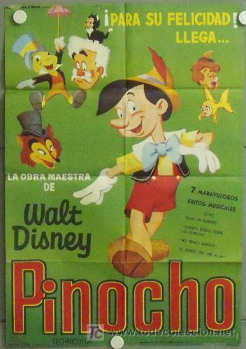 MN02 PINOCHO PINOCCHIO WALT DISNEY POSTER ORIGINAL 70X100 ESPAÑOL (Cine - Posters y Carteles - Infantil)