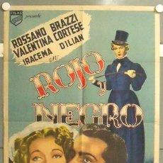 Cine: YZ74D ROJO Y NEGRO ROSSANO BRAZZI VALENTINA CORTESE POSTER ORIGINAL ARGENTINO 75X110 LITOGRAFIA. Lote 19821179