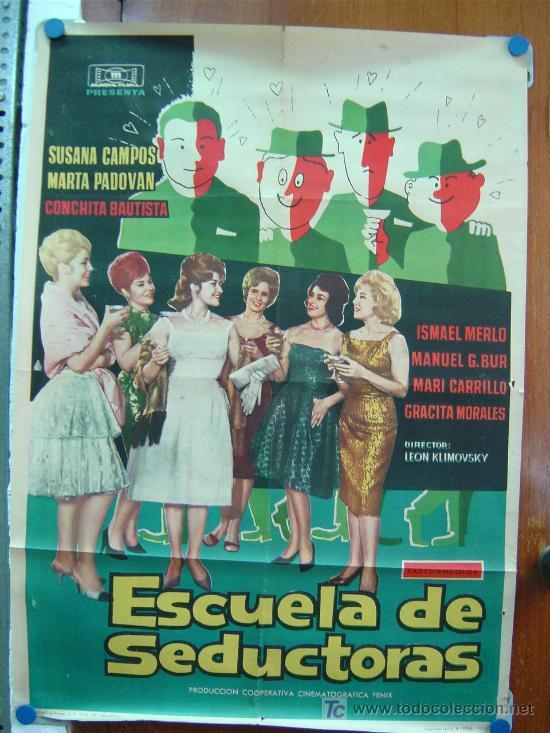 ESCUELA DE SEDUCTORAS, 1962, SUSANA CAMPOS, MARTA PADOVAN, CONCHA VELASCO,ISMAEL MERLO,MARI CARRILLO (Cine - Posters y Carteles - Clasico Español)