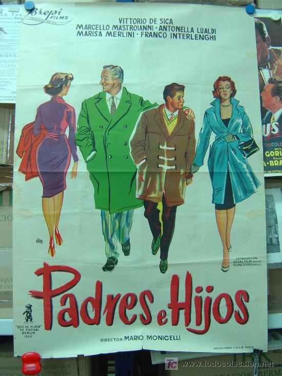 PADRES E HIJOS - VITTORIO DE SICA, MARCELLO MASTROIANNI, LITOGRAFIA, ILUSTRADOR: JANO - AÑO 1957 (Cine - Posters y Carteles - Comedia)