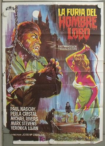 YX75D LA FURIA DEL HOMBRE LOBO PAUL NASCHY SOLIGO POSTER ORIGINAL 70X100 ESPAÑOL (Cine - Posters y Carteles - Terror)