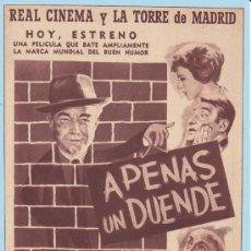 Cinema: APENAS UN DUENDE: DIRECTOR: LADISLAO VAJDA - ACTORES: HEINZ RÜHMANN Y NICOLE COURCEL. Lote 20818861
