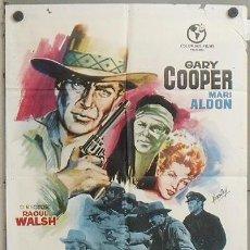 Cine: MZ68 TAMBORES LEJANOS GARY COOPER RAOUL WALSH HERMIDA POSTER ORIGINAL 70X100 ESPAÑOL R-64. Lote 21960703