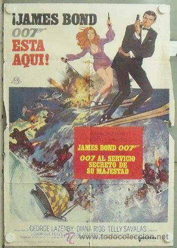 NB16 007 AL SERVICIO SECRETO DE SU MAJESTAD JAMES BOND LAZENBY POSTER ORIGINAL ESTRENO 70X100 (Cine - Posters y Carteles - Acción)