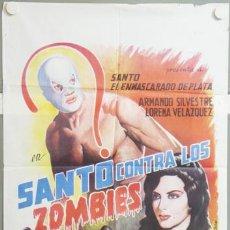 Cine: NB36 SANTO CONTRA LOS ZOMBIES ENMASCARADO DE PLATA MARZAL POSTER ORIGINAL 70X100 ESTRENO. Lote 22138883
