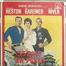 Cine: KMP 040 55 DIAS EN PEKIN CHARLTON HESTON AVA GARDNER NICHOLAS RAY POSTER ORIGINAL 70X100 ESTRENO. Lote 22372649