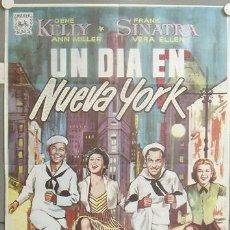 Cine: KMP 044 UN DIA EN NUEVA YORK GENE KELLY FRANK SINATRA ALVARO POSTER ORIGINAL 70X100 ESPAÑOL R-68. Lote 22372913