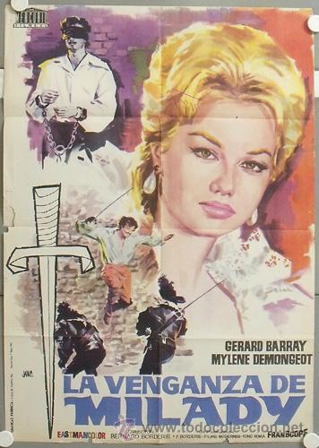 KMP 063 LA VENGANZA DE MILADY 3 MOSQUETEROS GERARD BARRAY MYLENE DEMONGEOT POSTER ORIG 70X100 ESTRE (Cine - Posters y Carteles - Aventura)