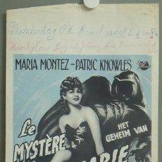 Cine: KMP 226D EL MISTERIO DE MARIA ROGET MARIA MONTEZ POSTER ORIGINAL BELGA 37X58. Lote 22569947