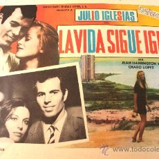 Cine: LA VIDA SIGUE IGUAL 1969 JULIO IGLESIAS CHARO LOPEZ (LOBBY CARD ORIGINAL). Lote 26148118