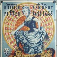 Cine: KMP 436D ENCUBRIDORA MARLENE DIETRICH ARTHUR KENNEDY FRITZ LANG LLOAN POSTER ORIG 70X100 LITOGRAFIA. Lote 22812514