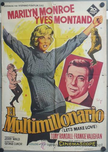 KMP 437 EL MULTIMILLONARIO MARILYN MONROE SOLIGO POSTER ORIGINAL 70X100 LITOGRAFIA (Cine - Posters y Carteles - Musicales)