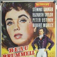 Cine: KMP 438D BEAU BRUMMELL ELIZABETH TAYLOR STEWART GRANGER POSTER ORIGINAL 70X100 ESTRENO. Lote 22812907