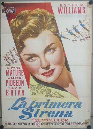 KMP 446D LA PRIMERA SIRENA ESTHER WILLIAMS VICTOR MATURE POSTER ORIGINAL 70X100 LITOGRAFIA (Cine - Posters y Carteles - Musicales)