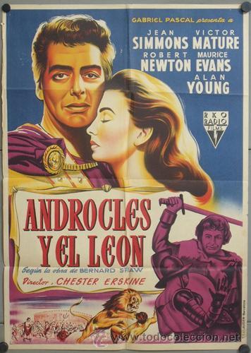 KMP 450D ANDROCLES Y EL LEON JEAN SIMMONS VICTOR MATURE LLOAN POSTER ORIG 70X100 ESTRENO LITOGRAFIA (Cine - Posters y Carteles - Aventura)