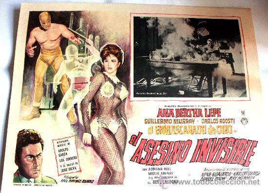 EL ASESINO INVISIBLE 1964 EL ENMASCARADO DE ORO (LOBBY CARD ORIGINAL) ANA BERTHA LEPE (Cine - Posters y Carteles - Acción)