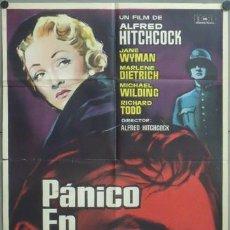 Cine: KMP 481 PANICO EN LA ESCENA ALFRED HITCHCOCK MARLENE DIETRICH MAC POSTER ORIGINAL ESTRENO 70X100. Lote 22826652