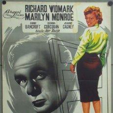 Cine: KMP 493 NIEBLA EN EL ALMA MARILYN MONROE RICHARD WIDMARK JANO POSTER ORIGINAL 70X100 LITOGRAFIA. Lote 22827353