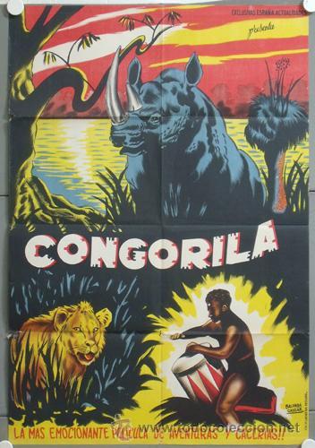 ZL97D CONGORILA DOCUMENTAL AFRICA POSTER ORIGINAL ESTRENO 70X100 LITOGRAFIA (Cine - Posters y Carteles - Documentales)