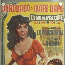 Cine: KMP 622D NOTRE DAME DE PARIS GINA LOLLOBRIGIDA ANTHONY QUINN POSTER ORIGINAL ARGENTINO 75X110. Lote 23109507