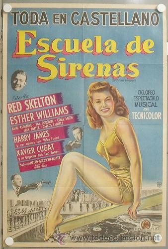 KMP 632D ESCUELA DE SIRENAS ESTHER WILLIAMS POSTER ORIGINAL ARGENTINO 75X110 LITOGRAFIA (Cine - Posters y Carteles - Musicales)