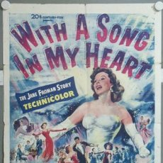 Cine: KMP 702D WITH A SONG IN MY HEART SUSAN HAYWARD POSTER ORIGINAL AMERICANO 70X105. Lote 23143280