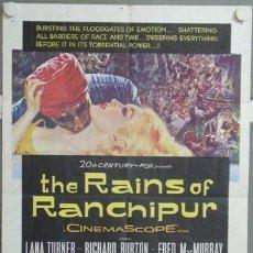 Cine: KMP 720D LAS LLUVIAS DE RANCHIPUR LANA TURNER RICHARD BURTON POSTER ORIGINAL AMERICANO 70X105. Lote 23156291