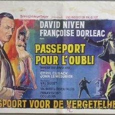 Cine: ND42 DONDE ESTAN LOS ESPIAS DAVID NIVEN FRANÇOISE DORLEAC POSTER ORIGINAL BELGA 37X55. Lote 23262514