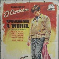 Cine: NI23 APRENDIENDO A MORIR MANUEL BENITEZ EL CORDOBES LAZAGA TOROS POSTER ORIGINAL 70X100 ESTRENO. Lote 49501579