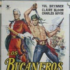 Cine: NJ75 LOS BUCANEROS CHARLTON HESTON POSTER ORIGINAL 70X100 DEL ESTRENO. Lote 23817626