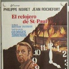 Cine: NK30 EL RELOJERO DE ST PAUL BERTRAND TAVERNIER GEORGES SIMENON NOIRET POSTER ORIGINAL 70X100 ESTRENO. Lote 23959006