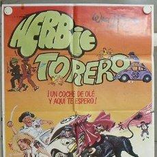 Cine: RE74D HERBIE TORERO WALT DISNEY AUTOMOVILISMO VOLKSWAGEN TOROS POSTER 70X100 ESTRENO. Lote 23999340