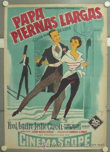 KMP 772D PAPA PIERNAS LARGAS FRED ASTAIRE CARON SOLIGO POSTER ORIGINAL 70X100 ESTRENO LITOGRAFIA (Cine - Posters y Carteles - Musicales)