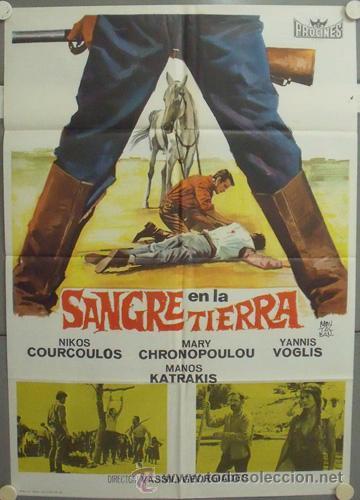 NP34 SANGRE EN LA TIERRA NIKOS COURCOULOS MARY CHRONOPOULOU POSTER ORIGINAL 70X100 ESTRENO (Cine - Posters y Carteles - Acción)