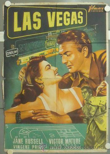 WV69D LAS VEGAS JANE RUSSELL VICTOR MATURE POSTER ORIGINAL 70X100 ESTRENO LITOGRAFIA (Cine - Posters y Carteles - Acción)