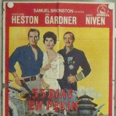 Cine: NP61 55 DIAS EN PEKIN CHARLTON HESTON AVA GARDNER NICHOLAS RAY POSTER ORIGINAL 70X100 ESTRENO. Lote 24658438