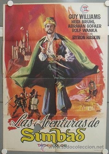NP95 LAS AVENTURAS DE SIMBAD GUY WILLIAMS POSTER ORIGINAL 70X100 ESTRENO (Cine - Posters y Carteles - Ciencia Ficción)