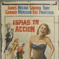 Cine: NQ10 ESPIAS EN ACCION MELINA MERCOURI SANDRA DEE POSTER ORIGINAL 70X100 ESTRENO. Lote 24781973