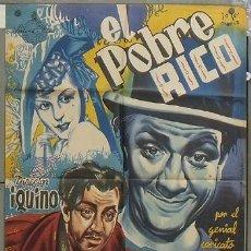 Cine: NT97 EL POBRE RICO ROBERTO FONT IQUINO POSTER ORIGINAL 70X100 ESPAÑOL LITOGRAFIA. Lote 25572620